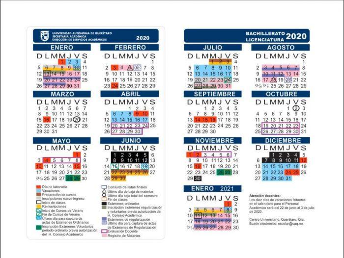 calendario uaq 2020