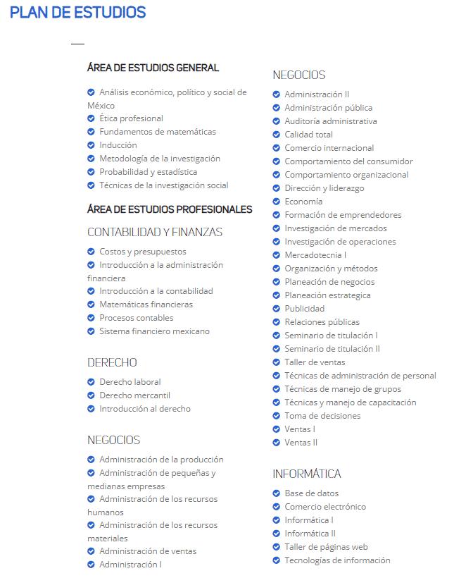 Plan de estudios de administración de empresas en línea