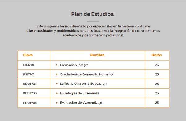 Plan de Estudio del Diplomado en Educación en Línea
